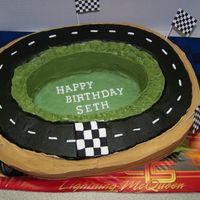 "Simple Racetrack Cake Made this for a 5 year old's ""Cars"" party. Mom wanted a race track to put two matchbox cars on. Marble cake with vanilla..."