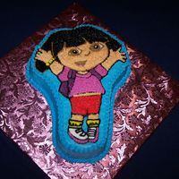 "Dora The Explorer Cake Made this for a lady who wanted a Dora cake. She asked for the one ""with the pan"", so this is what I did. It's a chocolate..."