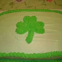 St.patrick's Cake french vanilla cake frosted with buttercream.