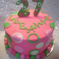Pink And Green Birthday   bc w/ fondant accents