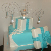 Tiffany Blue Engagement Cake   covered in fondant and store bought ring