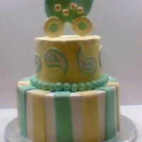 Green And Yellow Paisley Baby Shower Cake  I got the idea from here but I cant remember who from. Ppl just love this design I just got two orders for the same cake in different...