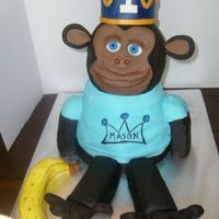 1St B.day Monkey   Carved chocolate and oreo filling cake. All edible except gumpaste crown. TFL!