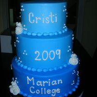 College Graduation College graduation. All buttercream with fondant roses and graduation cap.