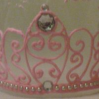 Pink Tiara Made of royal icing with silver dragees and jewels