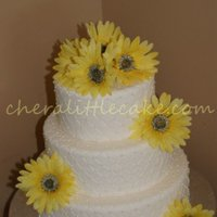 Yellow Flowered Quilted Wedding Cake