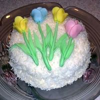 Tulip Coconut Cake Great for Mother's Day, birthdays or showers.