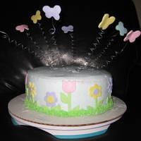 Spring Has Sprung  This cake has butter cream frosting with MMF accents. I made this for a friend that was having a hard time. I thought she needed a little...