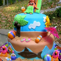 Island Princess Hula Girl  This was my daughter's 5th birthday cake. She wanted an island princess party. She loves flamingos and doing the hula. It is all...