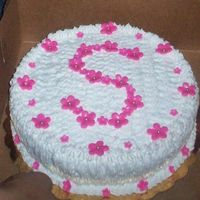 102_0303.jpg I made this for my grandaughter. Bcream with fondant flowers. The S for Suheydi.