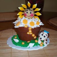 Flower Pot  I make this cupcakes in a king muffin pan and the cake is a vanilla pound cake covered with mmf i make this for mothers day gift and they...