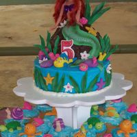 Little Mermaid Birthday Cake   My daughters birthday cake all the decorations are made with fondant. I loved my final result.