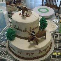 "Moose Cake Last minute cake for a rehersal dinner. The groom's nick name is ""Moose"", so I did two fondant moose. the one on tope is the..."