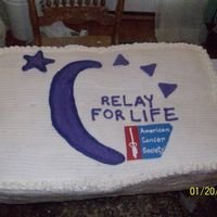 Relay For Life Cake 4 12 x 18 cakes stacked with BC filling and also covered in BC. I did the American Cancer Society in MMF and royal icing. The other...