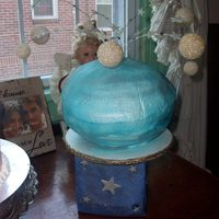 Planet Cake round cake with buttercream frosting. Filled in between layers with buttercream. Airbrushed color. This was a project my daughter had to do...