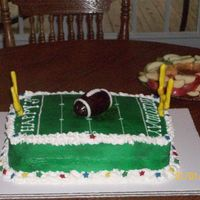 "Benjamin's Birthday Two ""Funfetti"" sheet cakes filled w/ cookies & cream filling. All butter cream minus the goal posts, and football. Those are..."