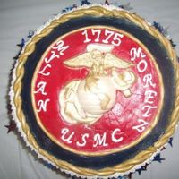 Usmc B-Day WC EGA, MMF Blue and red, also the gold rope is MMF Cake covered in BC. Thanks for all the inspiration from this website!!!!