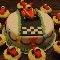 Race Car With Matching Cupcakes