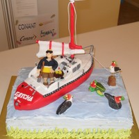 Sail Boat Birthday Cake Sailboat is made from rice krispy treats and fondant. String for ropes and lines. Animals are all fondant.Cake is chocolate with chocolate...
