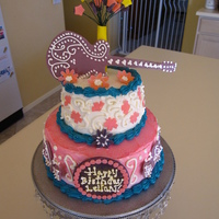 Hanna Montana Fondant pieces. Chocolate cake with butter cream frosting