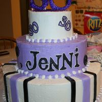 "30Th Birthday Cake Buttercream frosting with fondant stripes and ""30"" on top."