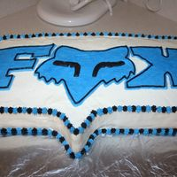 Fox Racing Cake Sheet cake filled with cookies and cream filling and frosted with buttercream