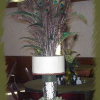 Peacock Feather Explosion This one took alot of planning. French Vanilla cake with Pistachio filling and vanilla buttercream icing. Top tier is a dummy iced in the...