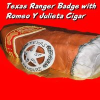 Texas Ranger Badge & Romero Y Julieta Cigar  9x13 cake cut in half and stacked, then shaped like a cigar. Deep Dark Chocolate Cake covered with Mocha buttercream with MMF decorations...