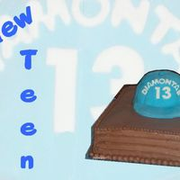 New Teen   Mocha Cake, White Chocolate Cherrie Mousse filling, Mocha IcingFondant covered cake for baseball cap.