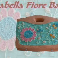 Isabella Fiore Bag  Italian Creme Cake, Cream Cheese Frosting with MMF accents. Tourquoise beads MMF and all embroidery colored cream cheese frosting. 11X15...