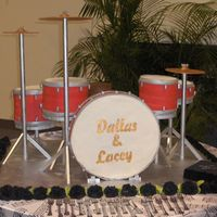 Drumset All drums were made of deep dark chocolate cake, mocha buttercream, topped with MMF, the stool was the same just no MMF. Bass drum is RKT...