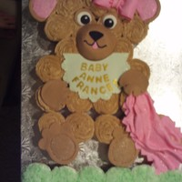 Teddy Bear Cupcake- Baby Shower This was a special request for a teddy bear cupcake for a baby shower. Accents are done in fondant and hardened before decorating cake. Bib...