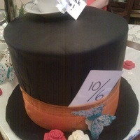 Mad Hatter's Tea   Triple chocolate fudge cake covered in black fondant.