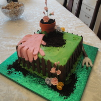 Planting Some Flowers This was a birthday cake for a woman who was a horticulturalist. Everything was edible. The flower pot was fondant covered rice krispie...