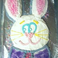 Easter Bunny Cake This is a cake my little sister helped me decorate for a family get together last Easter. The rabbit is made out of two 9 inch round pans....