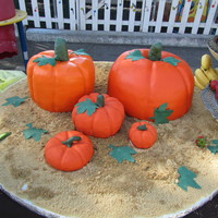 Pumpkin Platter Cake I made this for my son's school's Fall Breakfast. The two big ones are cakes carved into pumpkins. covered in fondant. The other...