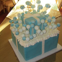 Tiffany Pop Cake This was for my cousin. She wanted a Tiffany's theme. The Tiffany boxes are foam covered in modeling chocolate. The cake pops are...