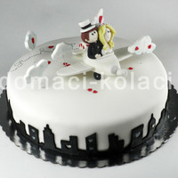 Wedding Cake white chocolate cake covered with fondant.this was for small wedding :D