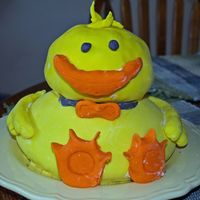 Easter Duck This is my Easter cake I made. It is (suppose to be) a duck. It is covered in fondant and one of the hardest cake i have ever made since im...
