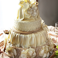 Draped Champagne Wedding Cake