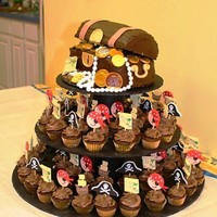 Pirate Minis And Treasure Chest  Chocolate cake and mini cupcakes filled with chocolate ganache and topped with chocolate buttercream. Decorations done in fondant inspired...