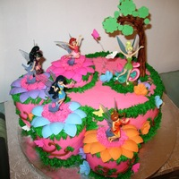 Tinkerbell And Friends   Whipped Buttercream and Strawberry mouse and fresh strawberries. Decorated with fondant. TFL