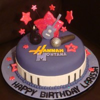 Hannah Montana Hannah Montana theme cake with everything in fondant. Thank you for looking!