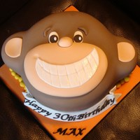 Cheeky Monkey  3D chocolate and vanilla sponge cake with milk chocolate ganache filling and the ears are chocolate rum cake! Everything covered and made...