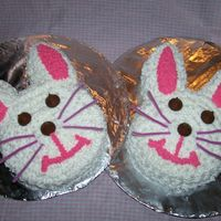 Double Easter Bunny Cake last minute cakes with hersey kisses for eyes and pipe cleaners as wiskers