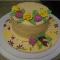 "Final Cake For Wilton Gumpaste And Fondant Class This is the final cake for my wilton fondant and gumpaste class. It is a 6"" round on a 10"" decorated cake board. I used petal..."