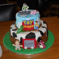 Toy Story I made this cake for my son's 5th birthday party. The top tier was chocolate with a chocolate buttercream filling, the bottom is...