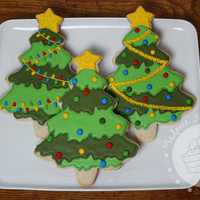 Christmas Tree Cookies Sugar cookies decorated with royal icing
