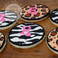 "Zebra & Leopard Cookies sugar cookies decorated with royal icing and a fondant ""R"""