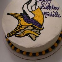 "Michelle's Minnesota Vikings Birthday Cake Three 9x1"" layers of Pumpkin cake (Pumpkin Cake I from AllRecipes, HIGHLY recommended). Frosted and decorated with vanilla BC. Made..."